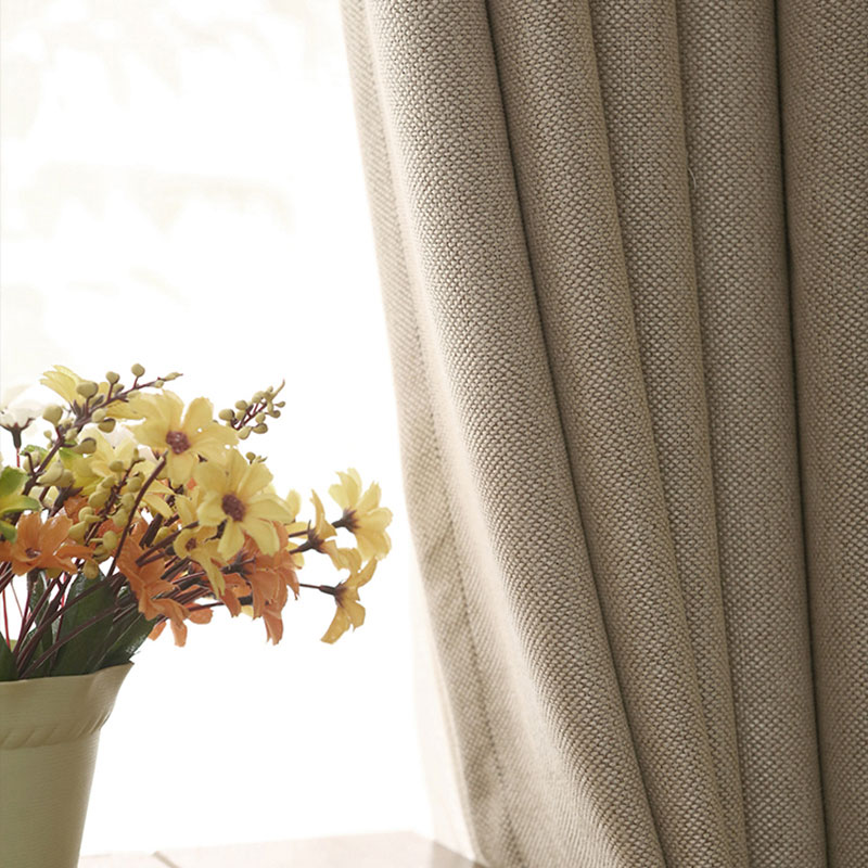 Solid Colors Blackout Curtains For The Bedroom Yarn Dyed Cloth Home Decoration Faux Linen Modern Living Room Curtains Panel
