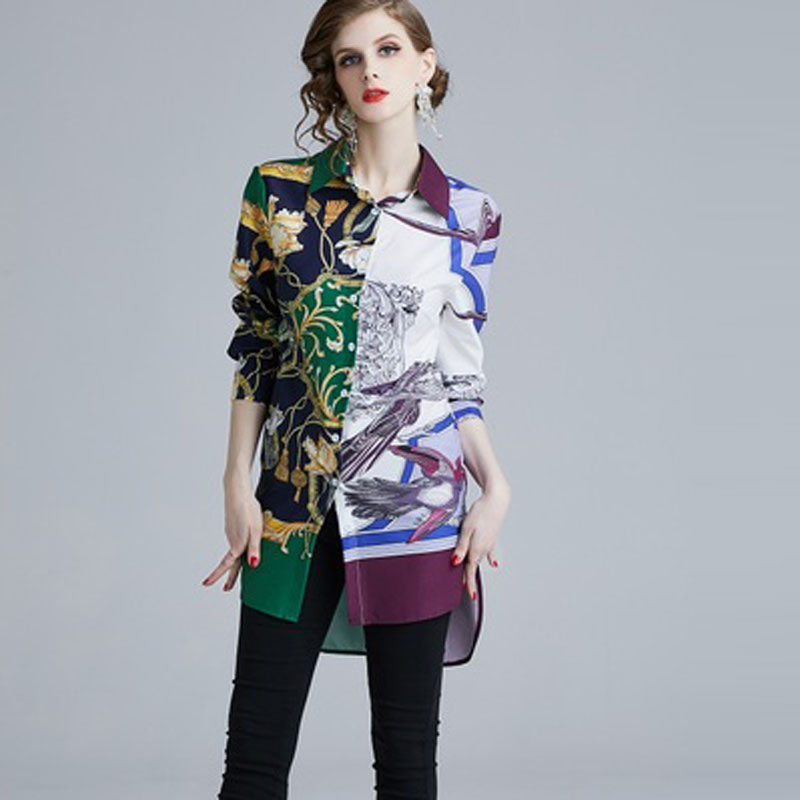 Women Long Sleeve Blouse Fashion Design Long Runway Vintage shirt Plus Size Print Tops Bust Size 90 94 98 102