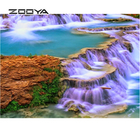 ZOOYA Diamond Embroidery 5d Diy Diamond Painting Landscape Waterfall Rock Christmas Decorations For Home Wall Sticker