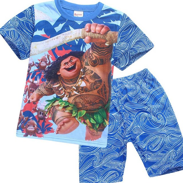 cfdaf6a2 Kid Boys Halloween Maui Moana Cool Costume Child Summer Cotton T-shirt  Board Shorts Blue Funny Pajamas Gift For Child 4-10Y