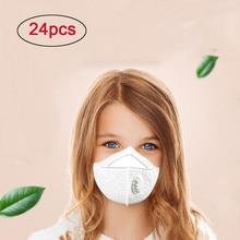 24 шт. регулируемые удобные белые маски для лица N95 сажевые респираторные маски с клапаном дети PM2.5 Пылезащитная маска 8,08