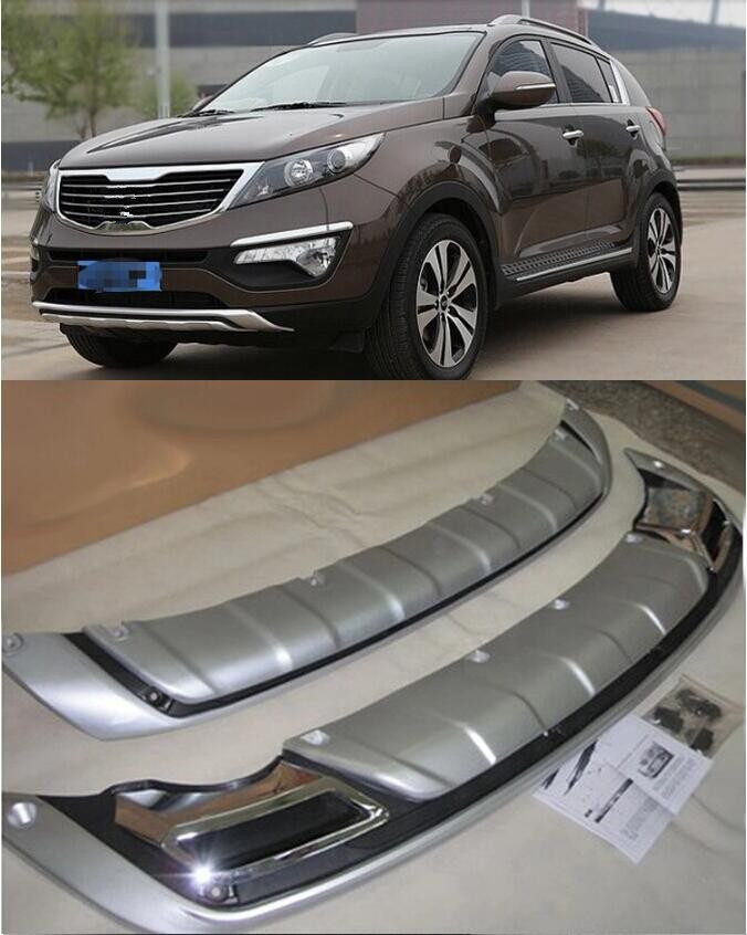 ABS chrome Front And Rear Bumper Protector Guard Cover Fit for Kia Sportage 2011 2012 2013 2014 2PCS/Set interior black rear trunk cargo cover shield 1 pcs for kia sportage 2016 2017