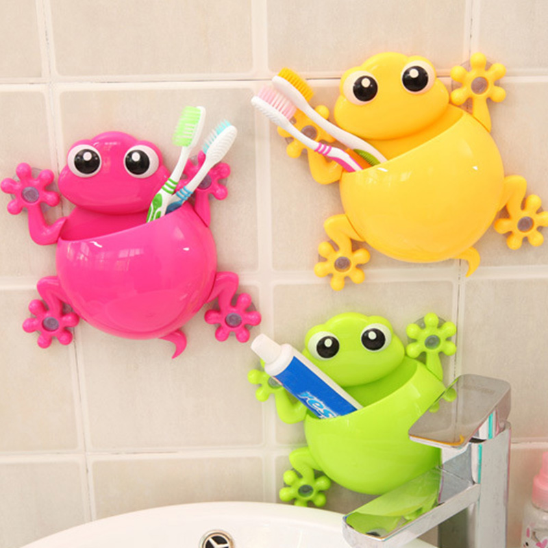 Bathroom:  2016 Creative Bathroom Products Sets Cartoon Gecko Toothbrush Toothpaste Holder Wall Sucker Suction Hook Tooth Brush Holder - Martin's & Co