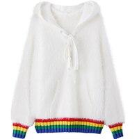 Women Rainbow Hem Sweater Fashioon Knitted Hooded Pullover Autumn