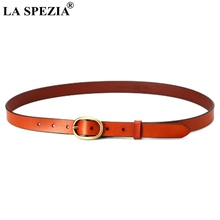 LA SPEZIA Pin Buckle Leather Belt Women Solid Camel Belt For Jeans Ladies Real Leather Cowhide Brand Classic Female Belts 115cm цена и фото