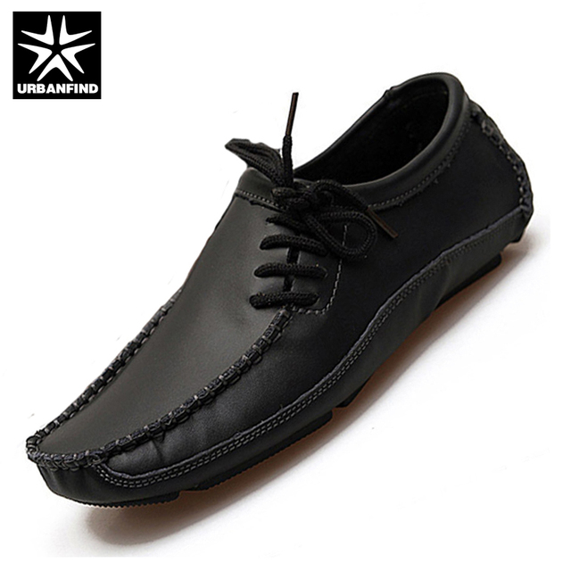 URBANFIND Men Fashion Leather Loafers Black / Brown / Grey EU Size 39-46 Man Casual Driving Shoes Black Brown Grey