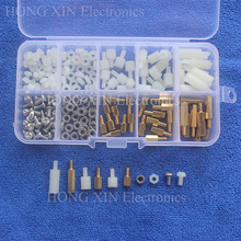 цены 180PCS/LOT NEW M3 Nylon/Brass Hex Column Male Female Spacer Standoff Screw Nut PCB Board Screw Assortment Kit Set #M3 Plastic