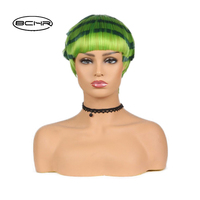 BCHR Green Wig Short Cosplay Wig Watermelon for Customes Ombre Synthetic Wig Free Shipping