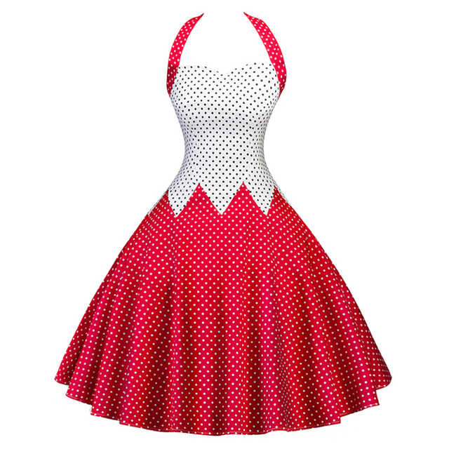 74e0bb35168 Women sexy halter polka dots tank sleeveless dress retro vintage fit flare rockabilly  swing dresses Audrey Hepburn