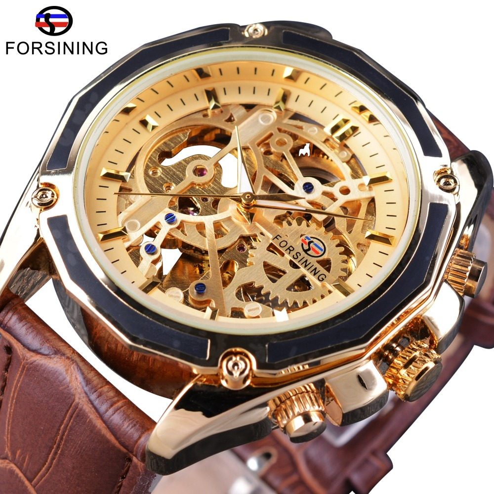 Forsining Transparent Luxury Gear Steampunk Open Work Brown Genuine Belt Mens Watch Top Brand Luxury Automatic Skeleton Watches forsining 3d skeleton twisting design golden movement inside transparent case mens watches top brand luxury automatic watches