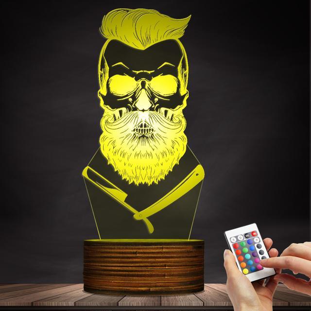 BEARD SKULL 3D LED LAMP