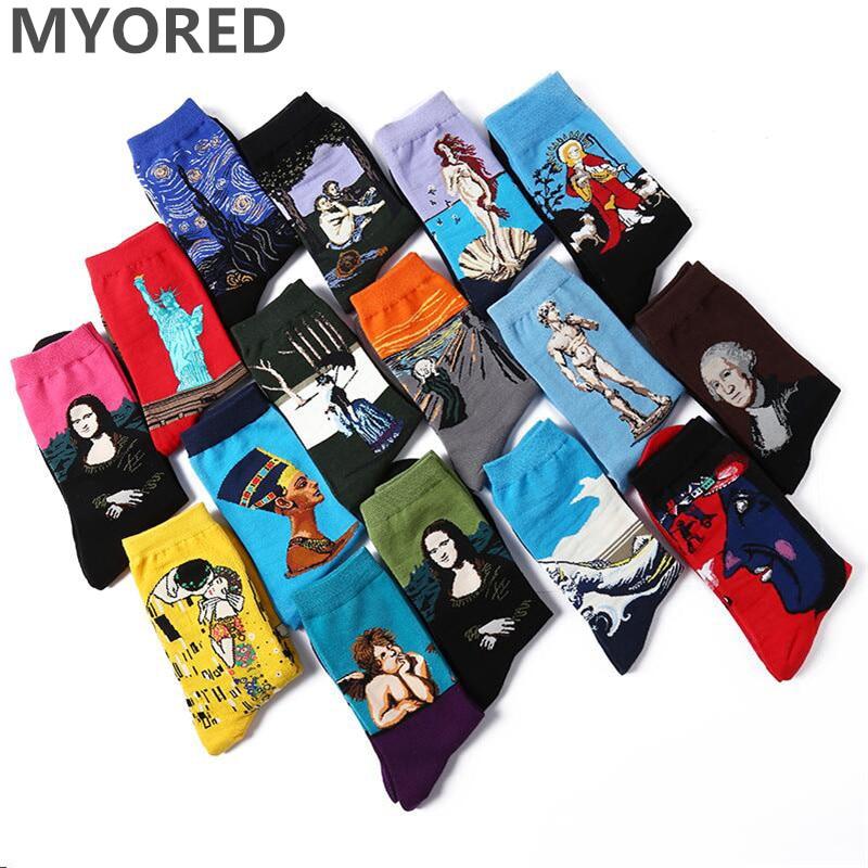 MYORED 5 pair/lot men funny socks Cotton Colorful Van Gogh Retro Oil Painting men's colorful business crew sock happy gift socks