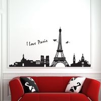 Modern Fashion Bedroom Home Wall Decor Removable Paris Eiffel Tower Art Decal Wall Sticker DIY Mural