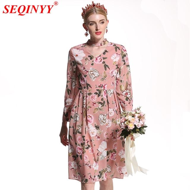 Seqinyy runway dress 2018 new fashion high quality womens summer seqinyy runway dress 2018 new fashion high quality womens summer spring flowers printed wrist sleeve a mightylinksfo