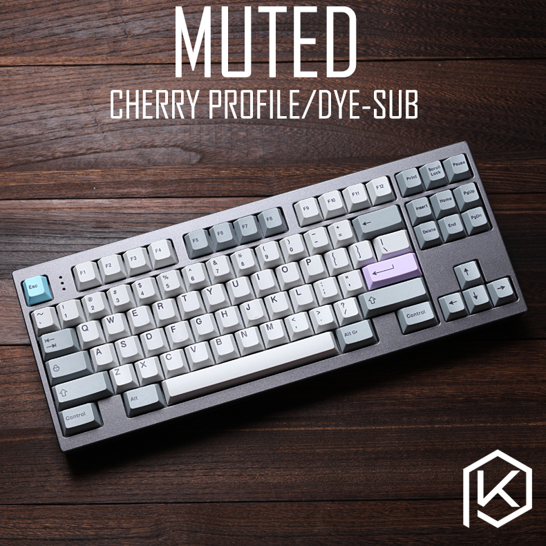 Muted Colorway 169 Cherry Profile Dye Sub Keycap Set Thick PBT Plastic Keyboard Gh60 Xd60 Xd84 Tada68 Rs96 Zz96 87 104 660