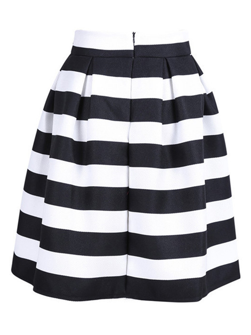 Black And White Stripe Ball Gown Skirts High Waist A line Knee ...