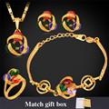 Pendant Neclace Earrings Hand Chain Ring Bracelet Wedding Set Brand Gold Plated Cubic Zirconia Jewelry Set For Women PEHR255