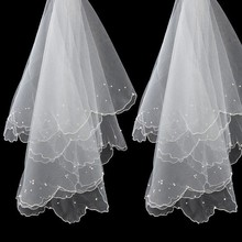 Simple and Elegent Wedding Veil Tulle White Ivory Two Layers Bridal Bride Accessories Short Women Veils With Comb