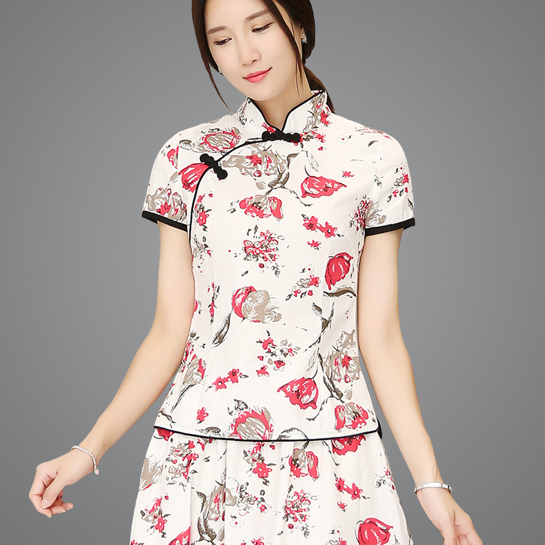 e280cc18a34 Shanghai story blend linen chinese traditional top qipao shirt for woman  cheongsam style shirt chinese blouse for ladies