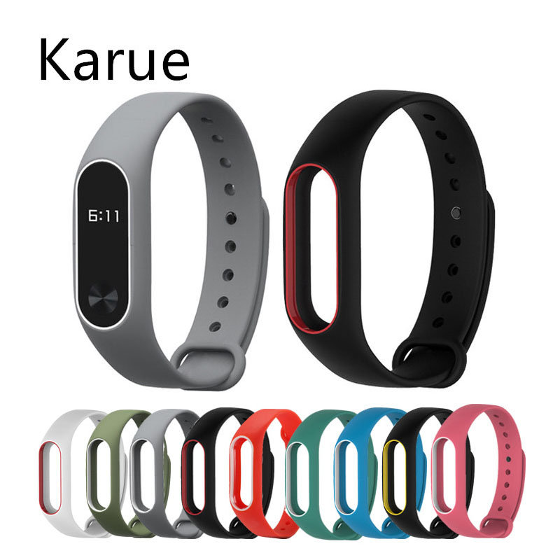 KaRue Colorful Silicone Wrist Strap Bracelet Double Color Replacement watchband for Miband 2 Xiaomi Mi band 2 Wristband