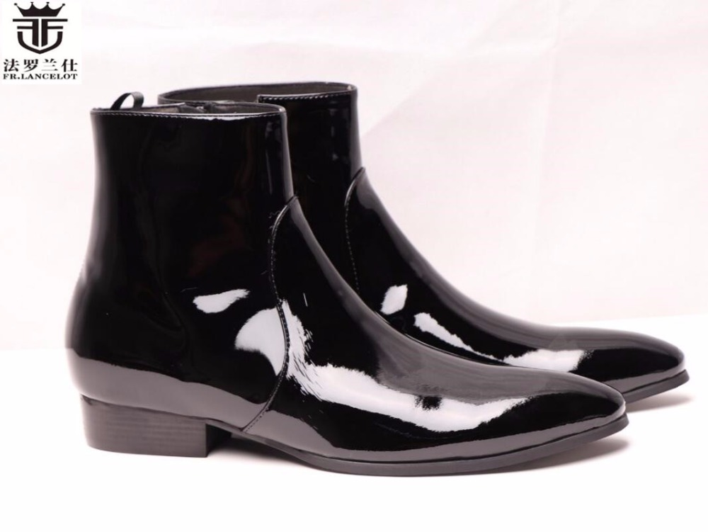 FR.LANCELOT fashion boots male chelsea fashion patent leather mens boots high-top shoes side zipper medium cut leather BootsFR.LANCELOT fashion boots male chelsea fashion patent leather mens boots high-top shoes side zipper medium cut leather Boots