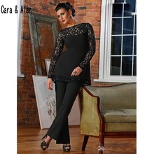 Elegant Black Mothers of Bride Pants Suits Lace Long Sleeves Mother of the Groom Gowns abiti