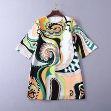 Japan style fashion print loose dress Chic womens diamonds sweet  A191