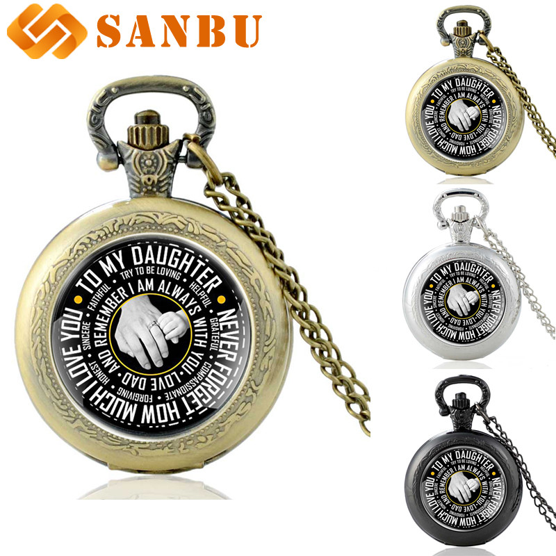 Unique Retro Bronze Family Member Daughter Quartz Pocket Watch Vintage Men Women Charm Pendant Necklace Best Birthday Present Ch