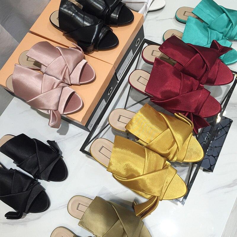 2016 Women's Silk Slippers Women Summer Shoes Korean Outdoor Sandals Butterfly Bow Ribbon Sandals Fashion Knot Sandals Sandalias