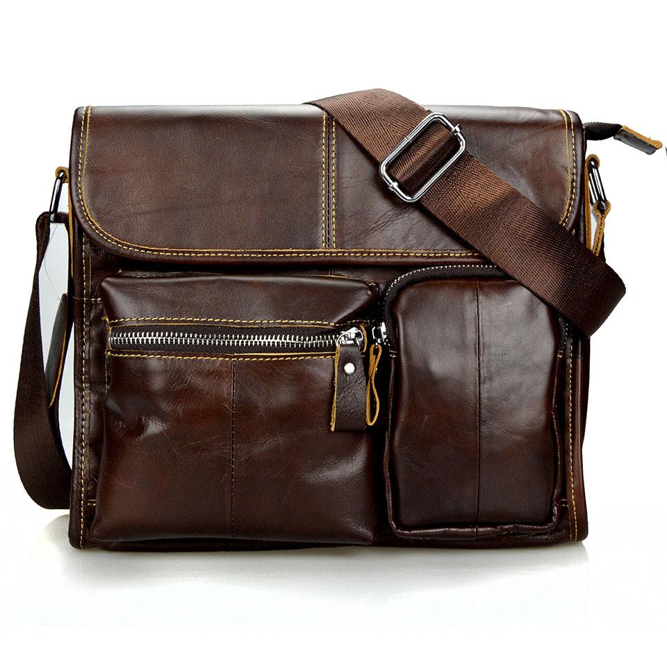2018 moda cera de aceite de cuero genuino hombres bolsa marca bolsas de mensajero para hombres de alta calidad de cuero de la vendimia bolsos de viaje masculinos