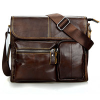2018 Fashion Oil Wax Genuine Leather Men Bag Brand Messenger Bags For Men High Quality Vintage Leather Male Travel Handbags