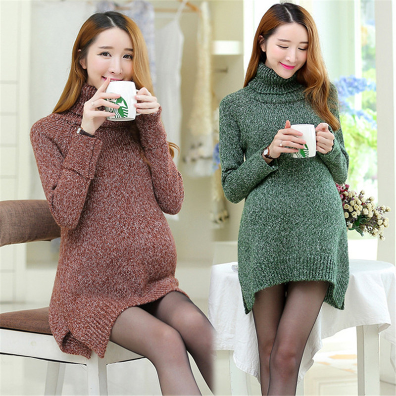 Warm Maternity Sweater Pullover 3Colors Long Sleeve Plus Size Pregnant Women Casual Knitted Maternity Soft Sweater plus size bell sleeve plunge tee