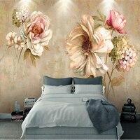 Custom 3D Room Wallpaper Abstruct Vintage Oil Flower Painting 3D Wall Murals For Living Room Wallpaper