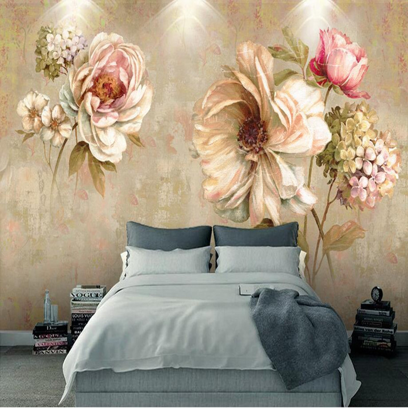 Custom 3D Room Wallpaper Abstruct Vintage Oil Flower Painting 3D Wall Murals for Living Room Wallpaper Hotel Wallcoverings Mural free shipping custom modern large scale murals bedroom children room wallpaper wandering dino s wallpaper 3d wall mural