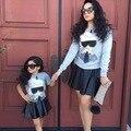 Ins * 2016 новорожденных девочек осень черный PU юбки Мать дочь одежда способа малышей ткань 2-7Y высокое качество бесплатная доставка
