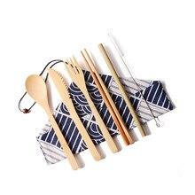 6Pcs/Set Reusable Bamboo Dinnerware Set Knife Fork Spoon Chopsticks Straw Cutlery Bag Wooden Tableware Set Kitchen Accessories