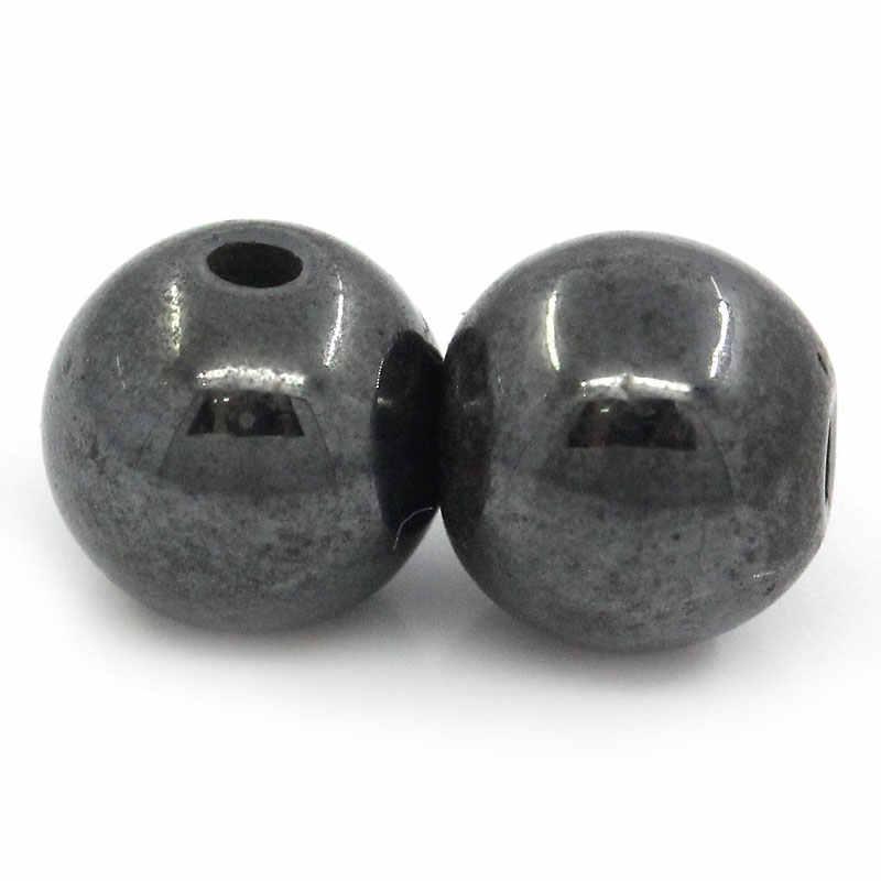 """Ematite magnetica Rotonda Nero Circa 6mm (2/8 """") Dia, foro: Approssimativamente 1mm, 35 Pz"""
