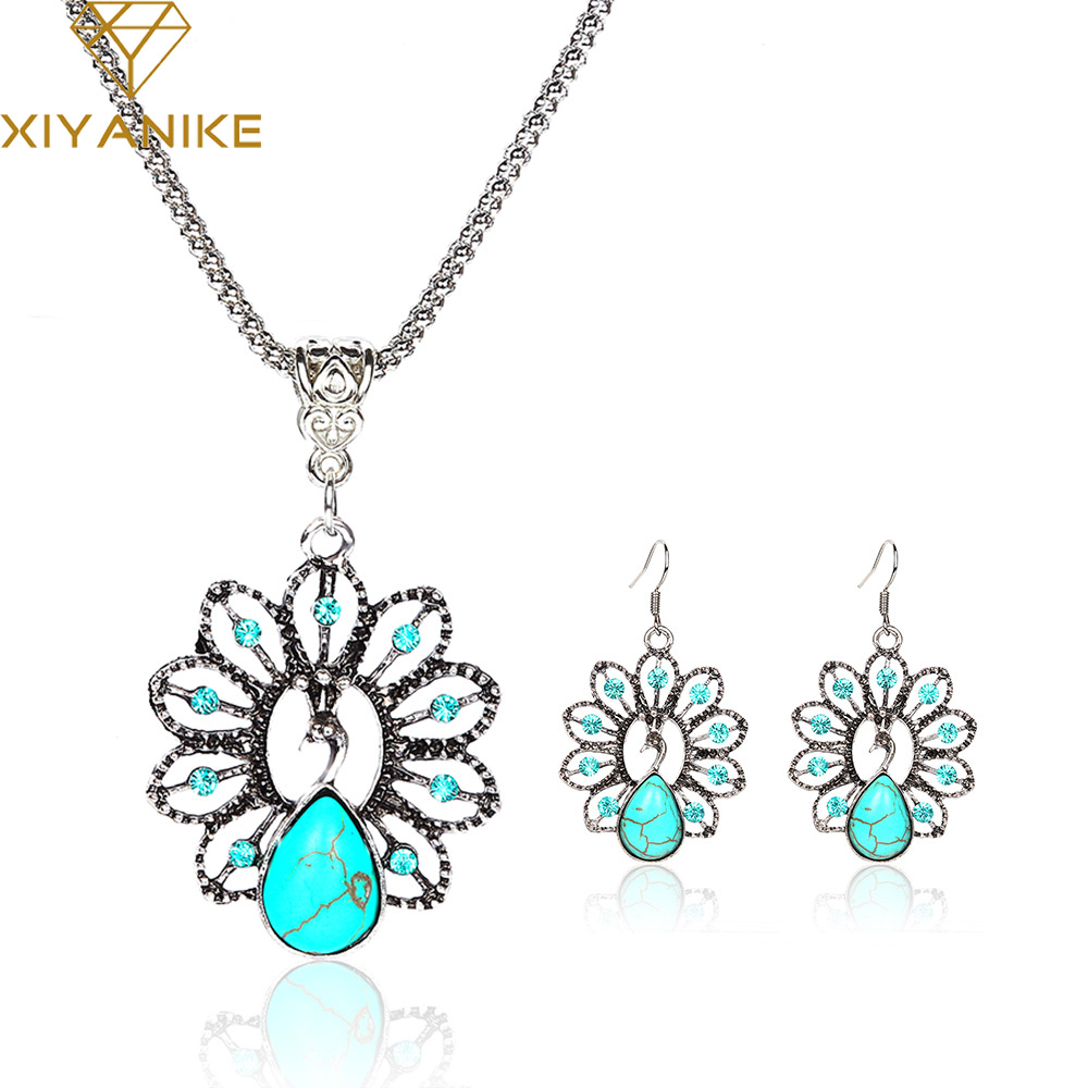 New Big Brand  Vintage Antique Silver Plated Tibetan Peacock Rhinestone Necklace and Earrings Jewelry Sets E916N423