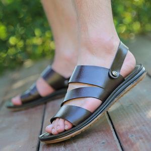 Image 2 - 2019 Genuine Leather Sandals Men Summer Shoes New Fashion Mens Beach Sandals Cow Leather Footwear Male Black Shoes A1454