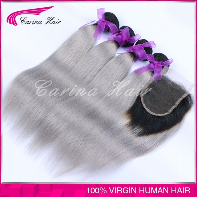 Top Grade Brazilian Grey Hair Weave 3 Bundles With Lace Closure Silver Grey Ombre Hair Extension With Closure Grey Straight Hair