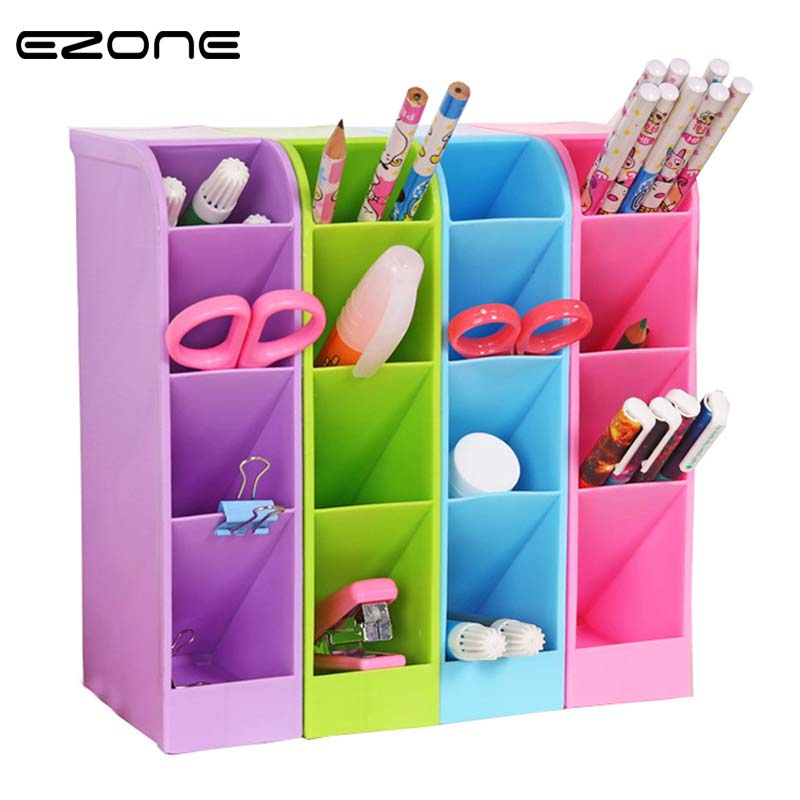 EZONE 1PC Multi-function Plastic PP Desktop Storage Box Case 4 Grid Sub-grid Make up Cosmetic Holder Desk Pen Pencil Organizer