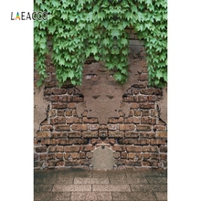 Laeacco Brick Wall Tree Vine Backdrop Outdoor Portrait Photography Background Customized Photographic Backdrops For Photo Studio