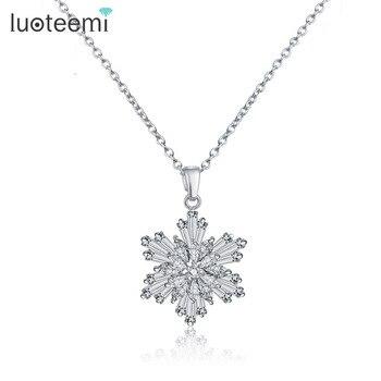 Luoteemi marca ouro branco-color cubic zirconia flor clavícula pendant & colar para mulheres acessórios de moda jóias noite