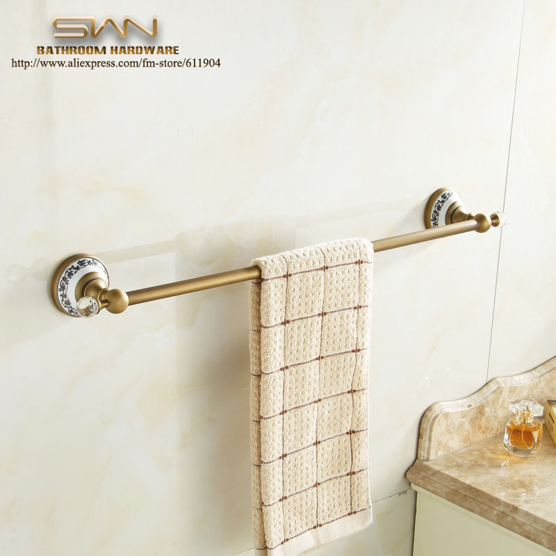 Antique Brass Bathroom Towel Bar Rack Single Holder Bathroom Accessaries Hardware 60cm 3E11811