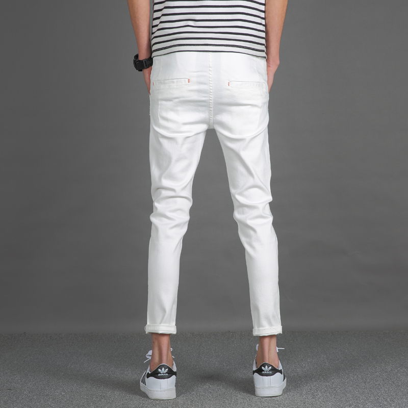 f79d3ade5327 2017 Summer Style White Jeans Men Pants Ripped Knee Hole Skinny Jeans Male  Ankle Length Slim Fit Casual Mens Denim Jeans Pants-in Jeans from Men s  Clothing ...