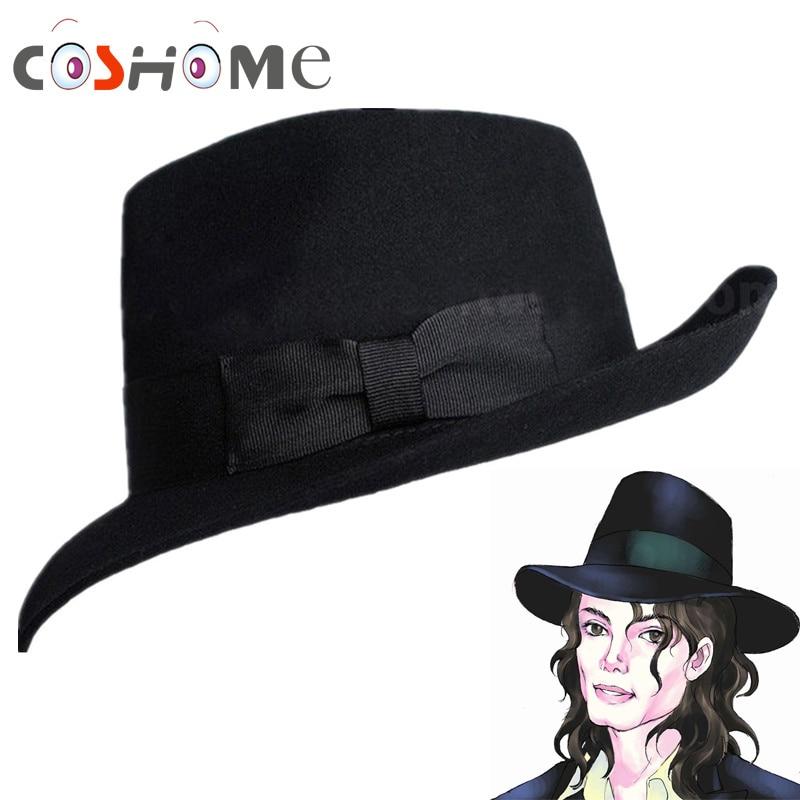 Coshome Michael Jackson Cosplay Caps Fedoras Concert Dance Hats Classic Solid Black And White Wide Brim Jazz Gentleman Wool Hats michael jackson black and white cover gold black l