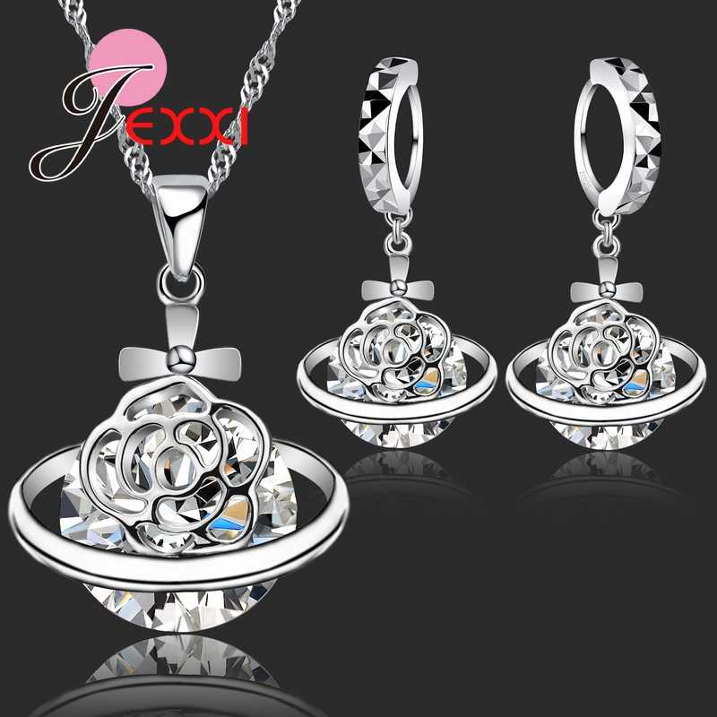 New Arrival 925 Sterling Silver African CZ Crystal Flower Necklace Drop Earrings Romantic Wedding Jewelry Set Bijoux Accessories