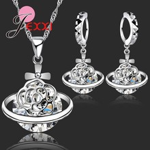 New Arrival 925 Sterling Silver African CZ Crystal Flower Necklace Drop Earrings Romantic Wedding Jewelry Set Bijoux Accessories(China)