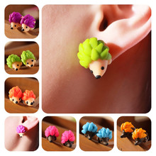 Colourful Handmade Polymer Clay Cute Hedgehog Stud Earrings For Girls Kids Fashion Jewelry Women Car