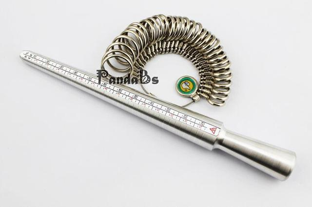 Hot Jewelry Measuring Tool Sets, with Aluminium Ring Size Sticks Ring Mandrel and Alloy Ring Sizers Professional Model, ,